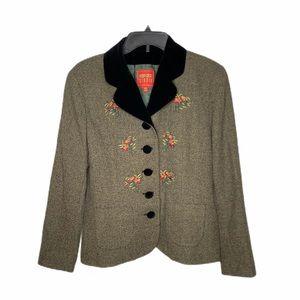 KENZO Velvet Collar Floral Embroidered Blazer